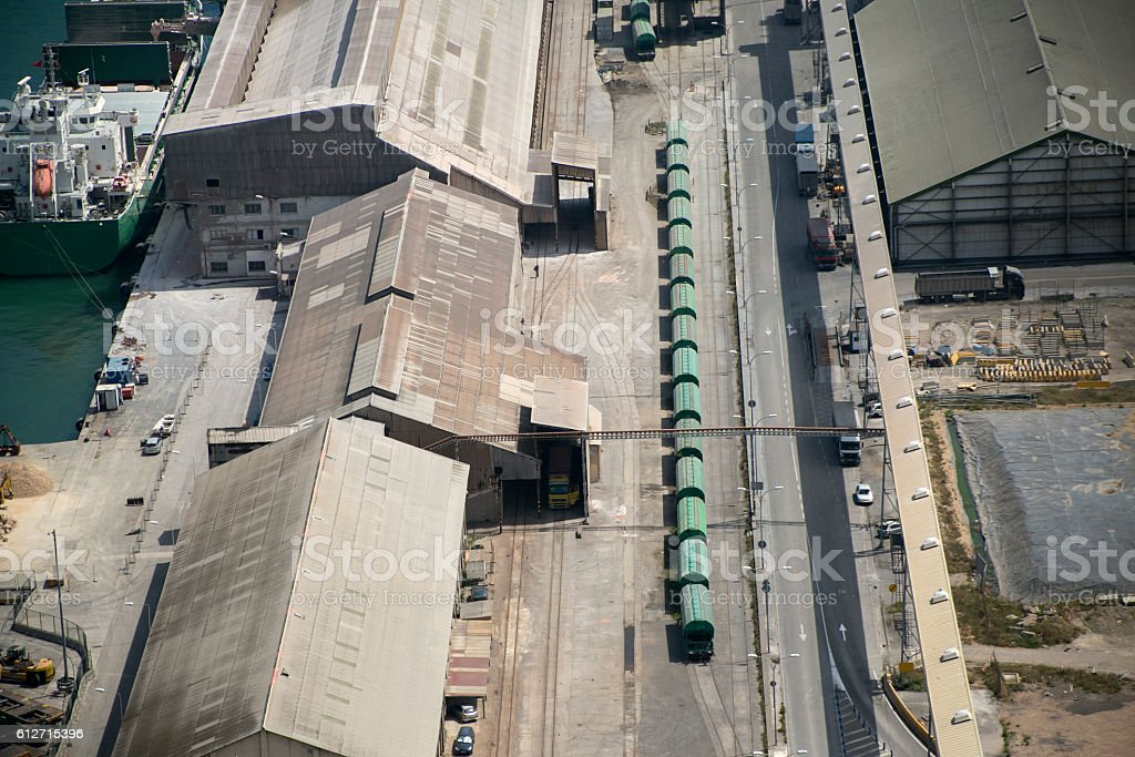train containers for transportation at custom area of barcelona spain stock photo