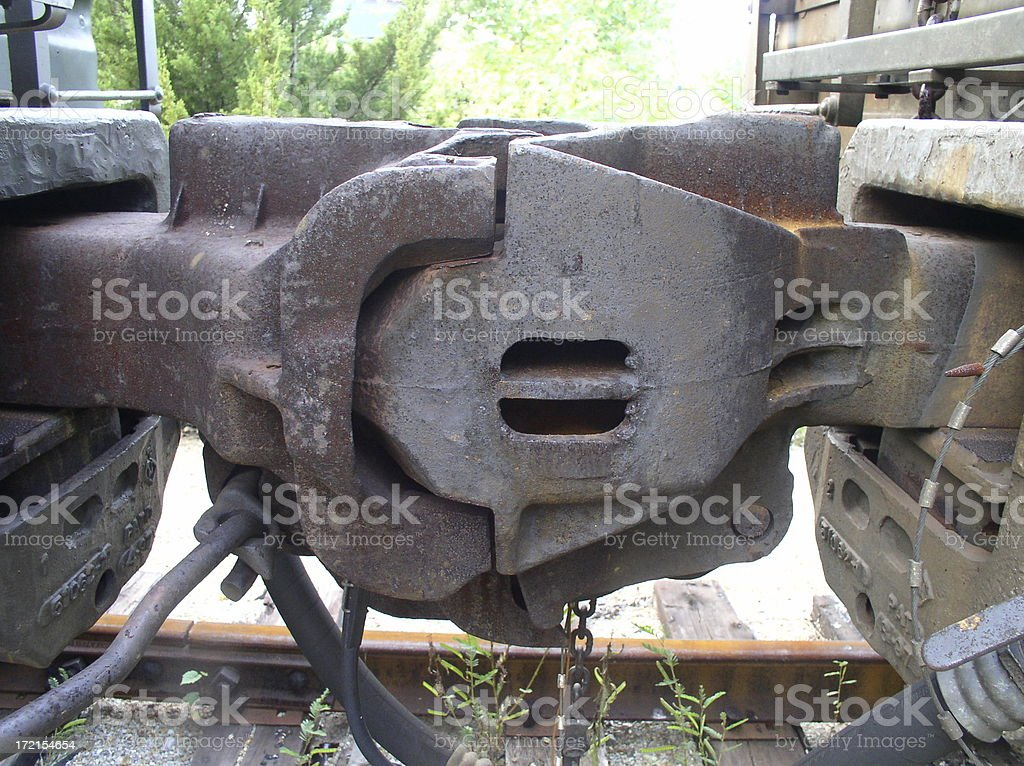 Train coupling box stock photo