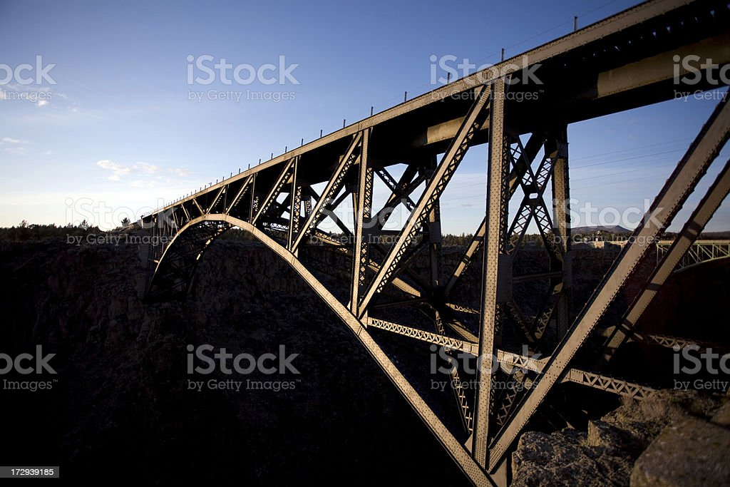 Train Crossing the Crooked River Bridge, Oregon royalty-free stock photo