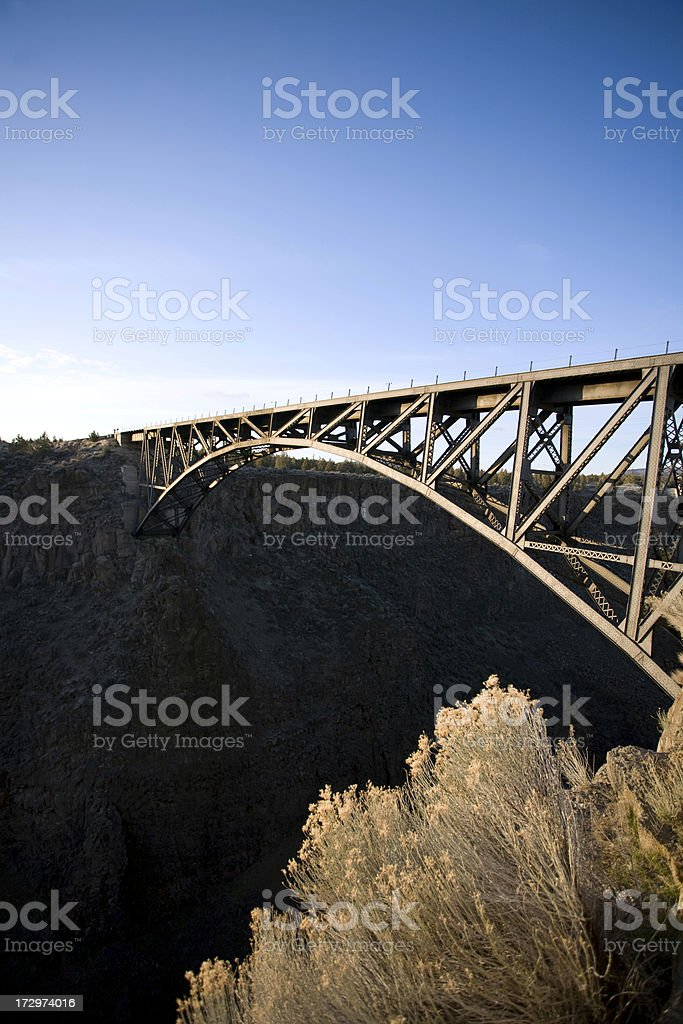 'Train Crossing the Crooked River Bridge, Oregon' stock photo