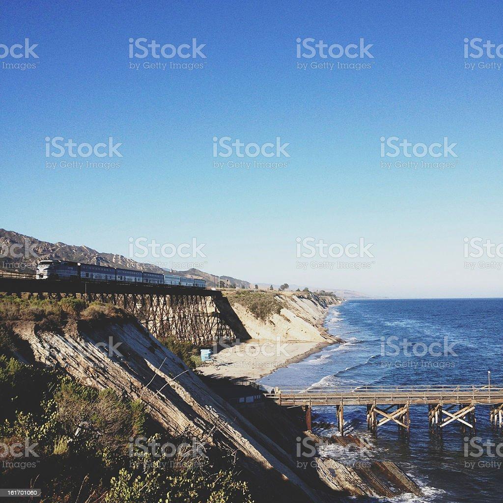 Train Crossing Trestle stock photo