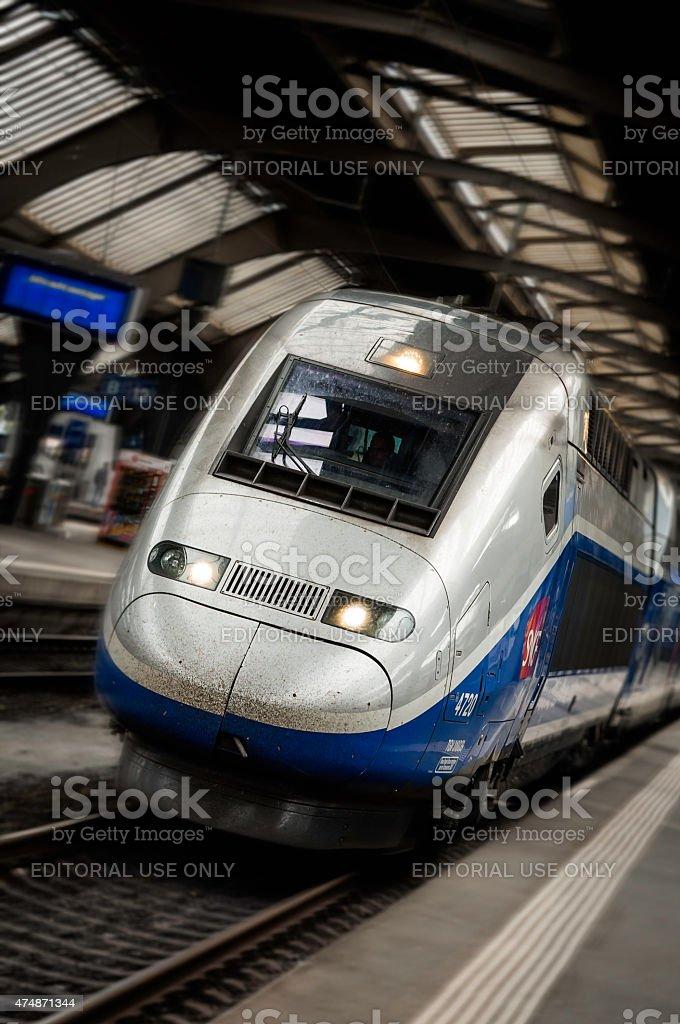 TGV train departs from Zurich stock photo