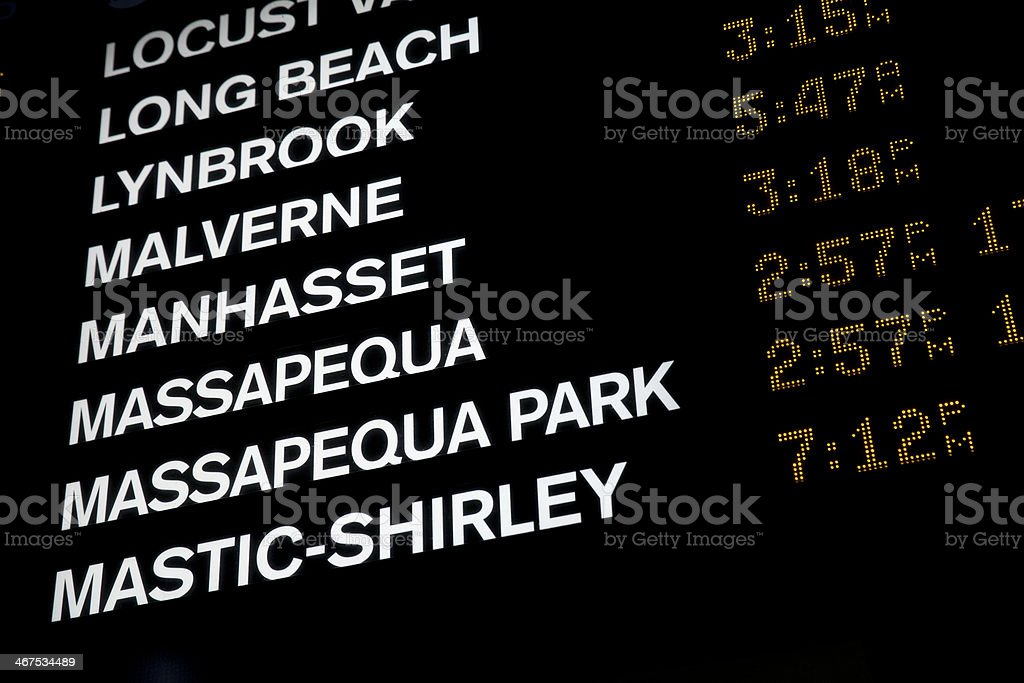 Train Departure Board in Penn Station stock photo