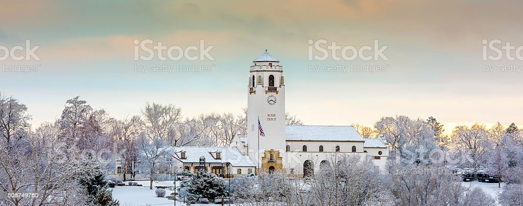 Train Depot in Idaho with morning winter snow stock photo