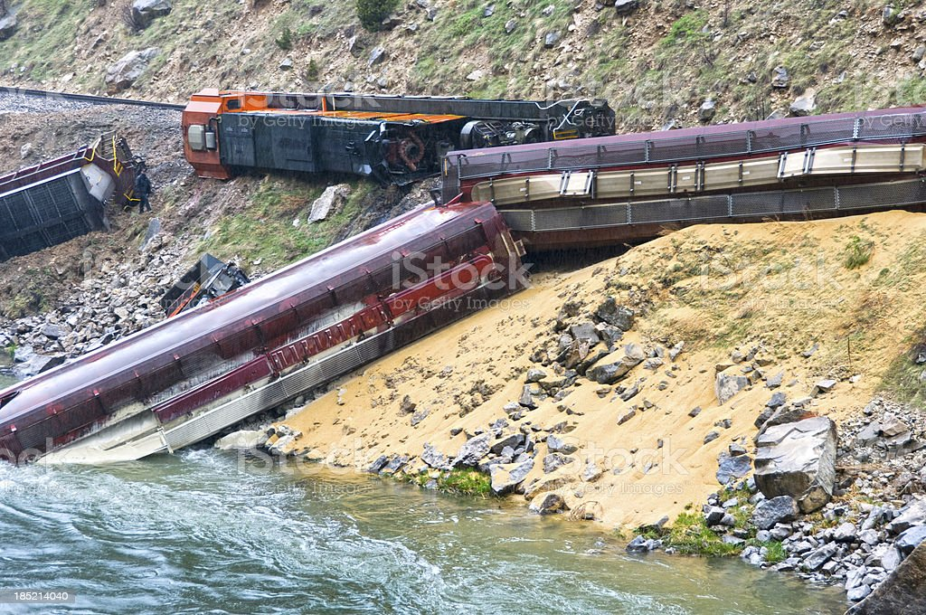 Train derailed by landslide in Wyoming stock photo