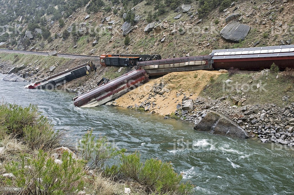 Train derailed by rock slide in Wyoming stock photo