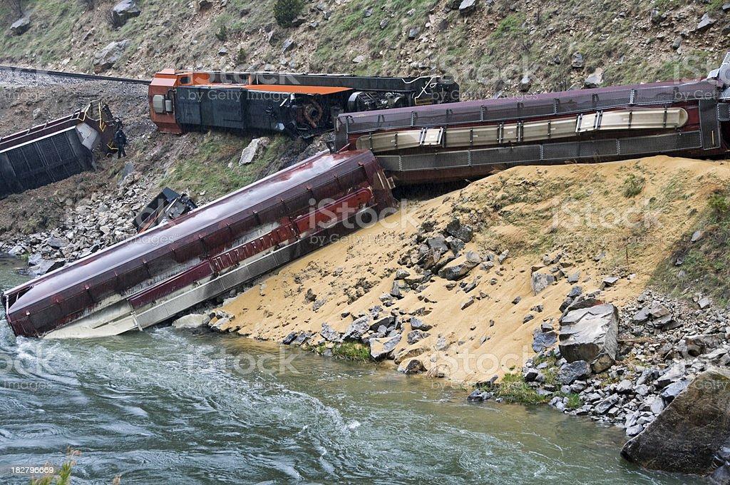 Train derailment in Wyoming stock photo