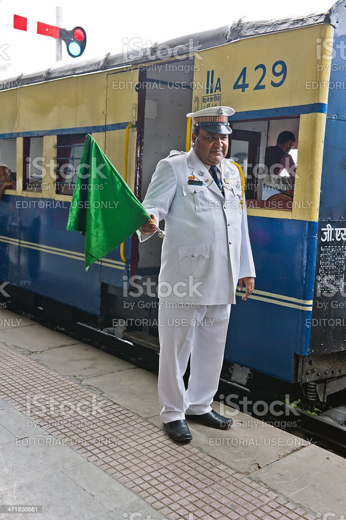 Train Dispatcher on Shimla Railway Station India royalty-free stock photo