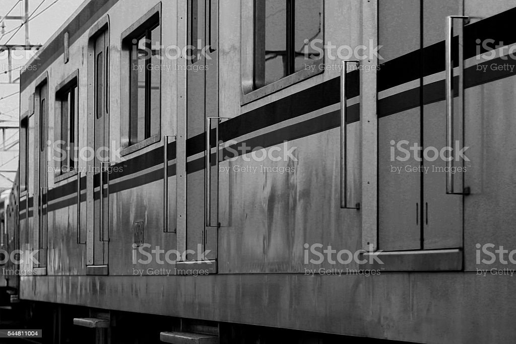 Train door Black and White stock photo