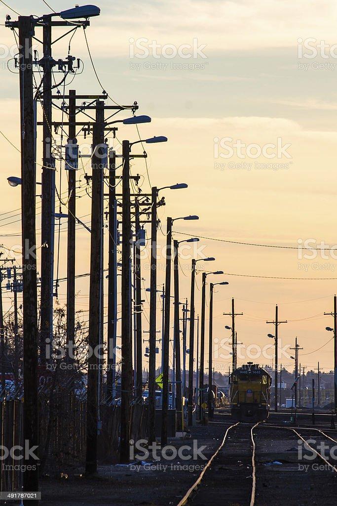 Train engine resting stock photo