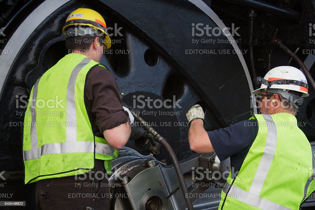 Train Engineers Working stock photo
