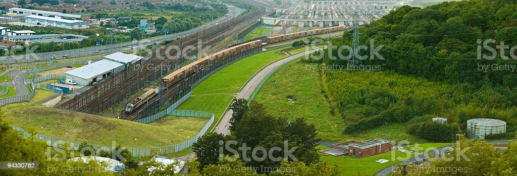 Train entering Channel Tunnel stock photo