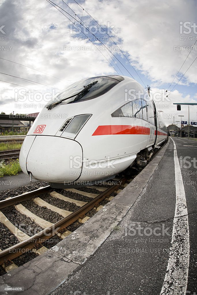 ICE train, fish-eye lens stock photo