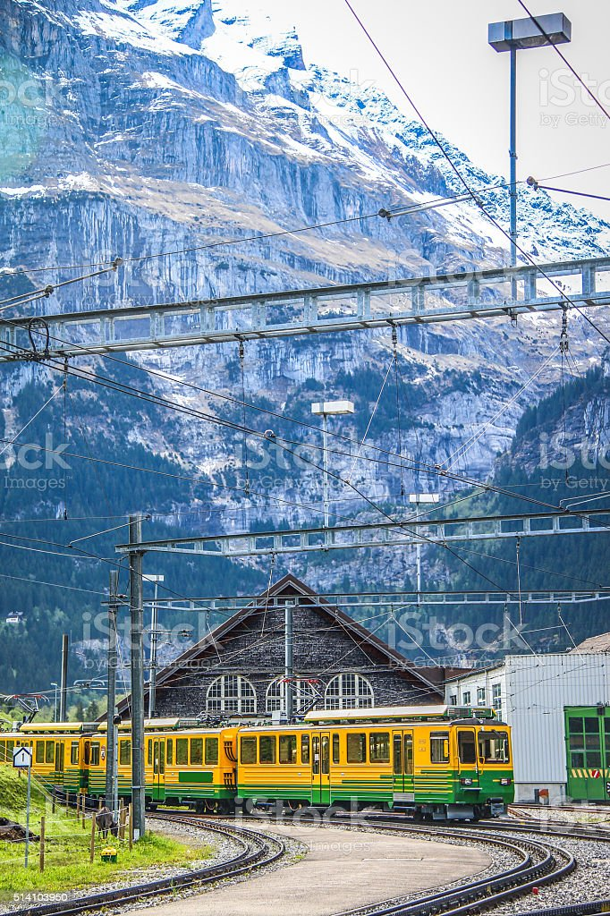 Train for traveller go to Jungfraujoch stock photo