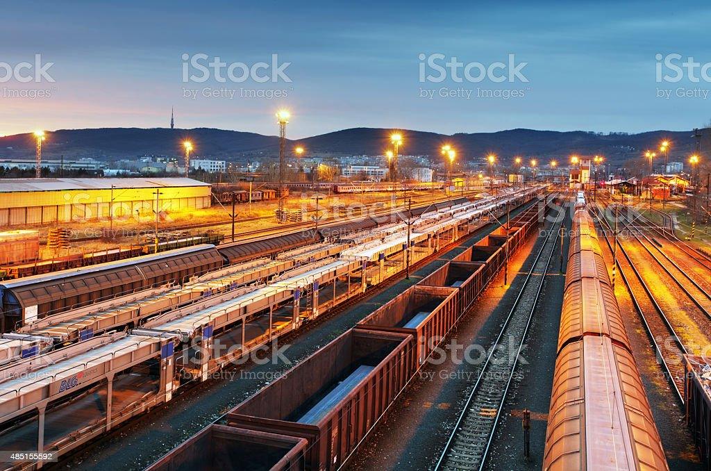Train freight - Cargo railroad industry stock photo