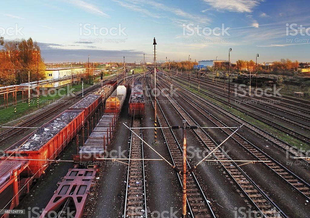 Train freight station - Cargo transportation stock photo