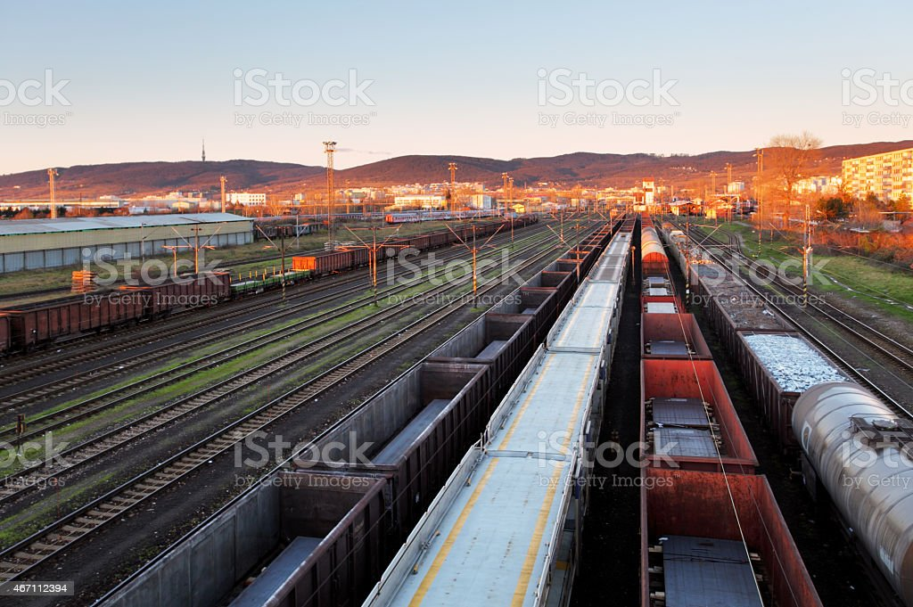 Train Freight transportation platform - Cargo transit stock photo