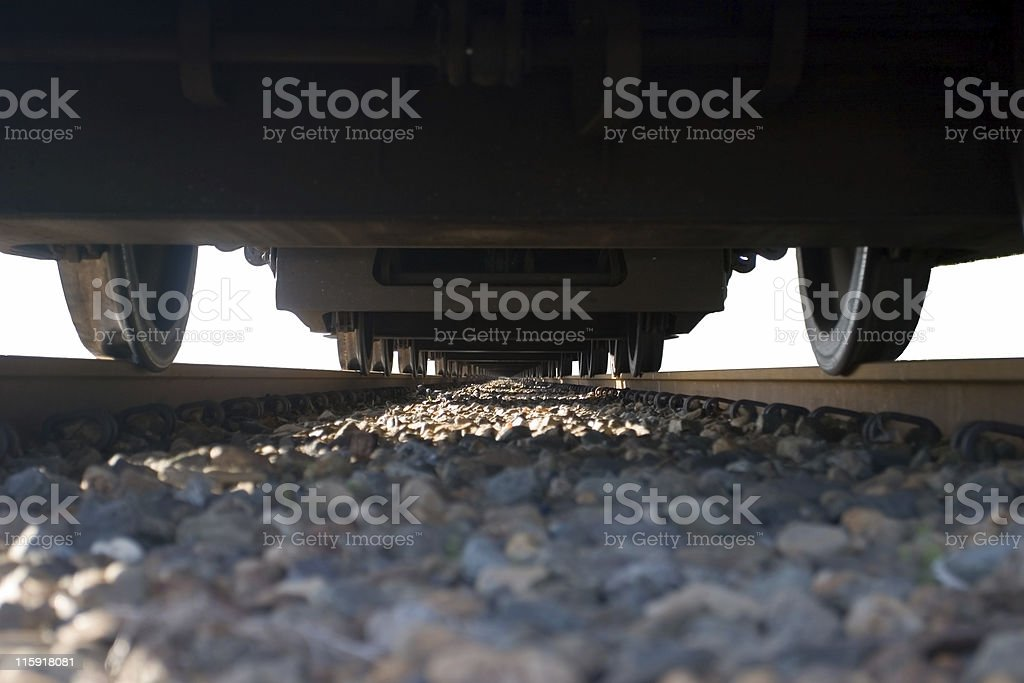 Train from below royalty-free stock photo