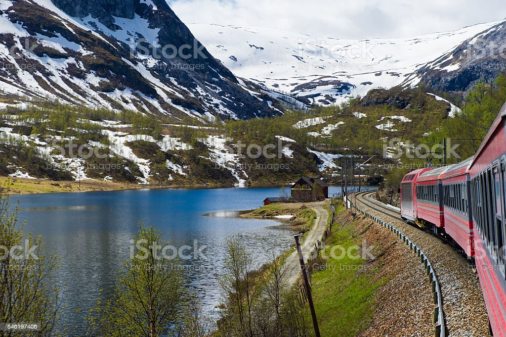 Train from Oslo to Bergen stock photo