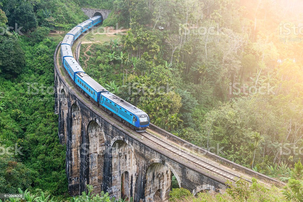Train goes over bridge stock photo