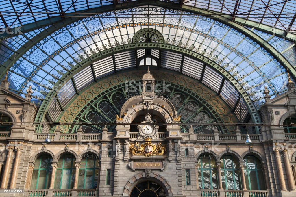 Train Hall of Antwerp Central Station stock photo