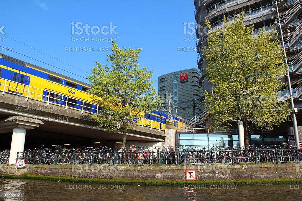 Train in Amsterdam city stock photo