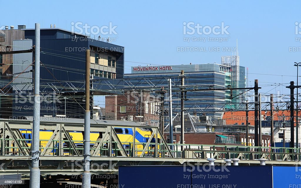 Train in Amsterdam city royalty-free stock photo