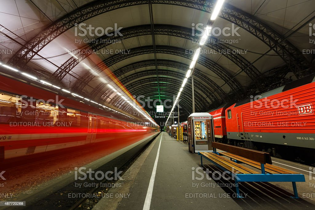 Train in Dresden Central Station stock photo