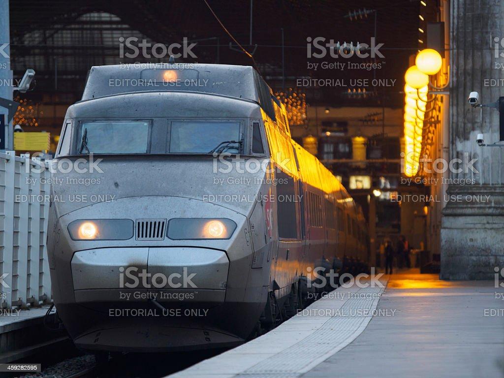 Train in Paris Gare du Nord stock photo