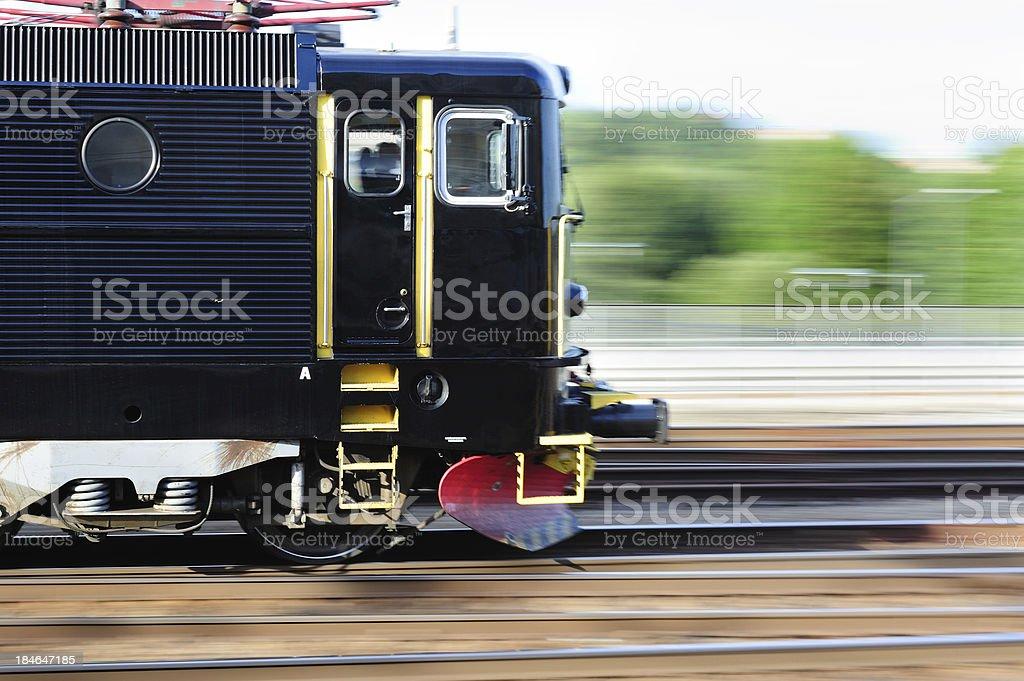 Train in profile stock photo
