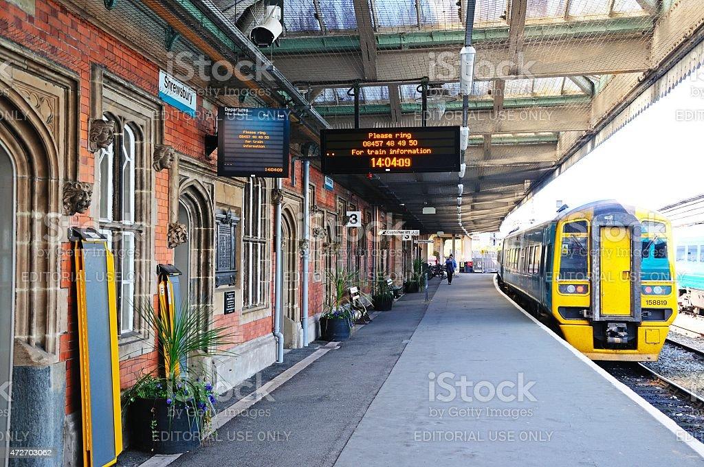 Train in Shrewsbury Railway Station. stock photo