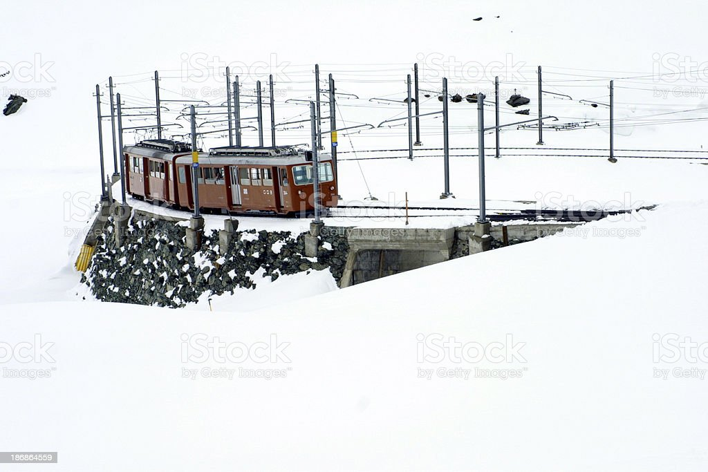 Train in snow royalty-free stock photo