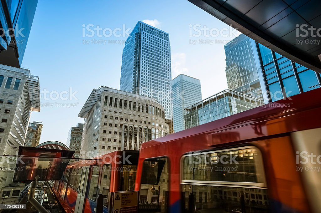 Train in subway station at Canary Wharf, London stock photo