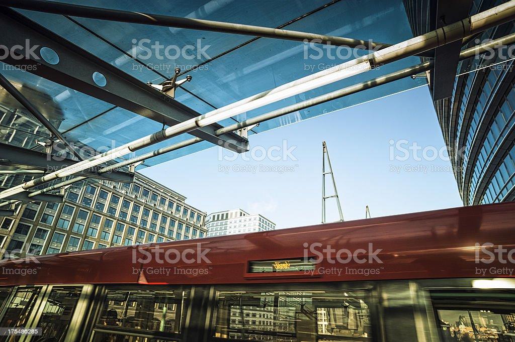 Train in subway station at Canary Wharf, London royalty-free stock photo