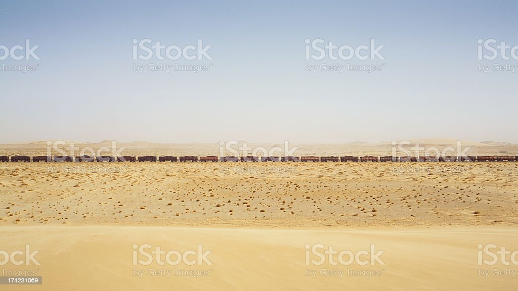 Train in the desert, Mauritania stock photo