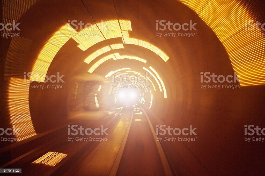 Train in the Futuristic Tunnel stock photo