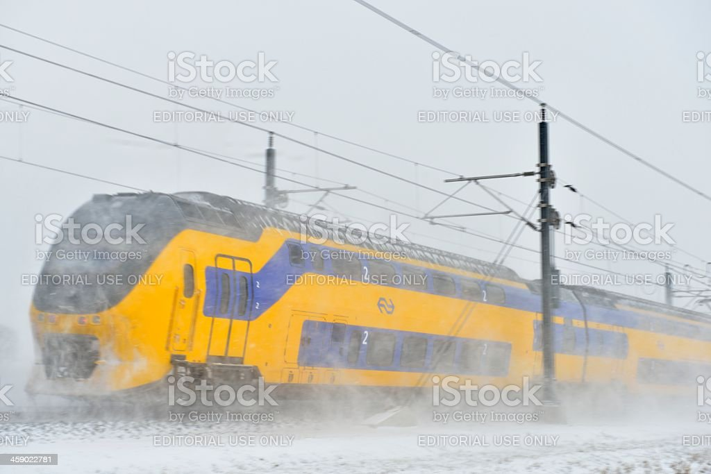 Train in the snow royalty-free stock photo