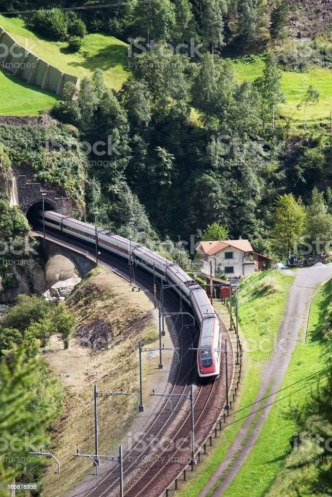 Train in the Swiss mountains stock photo