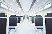 Train interior with black seats