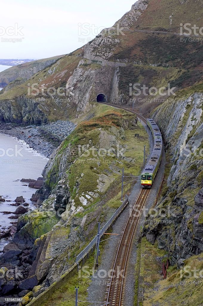 train is going out from a tunnel royalty-free stock photo
