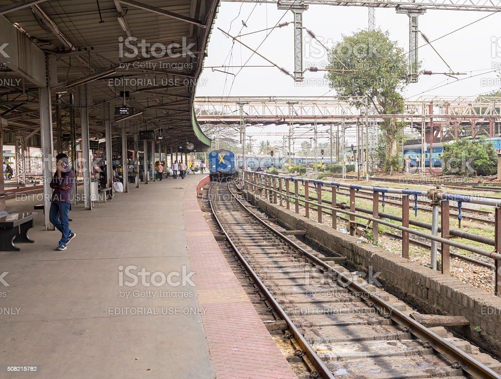 Train leaves Bangalore railway station platform, India stock photo
