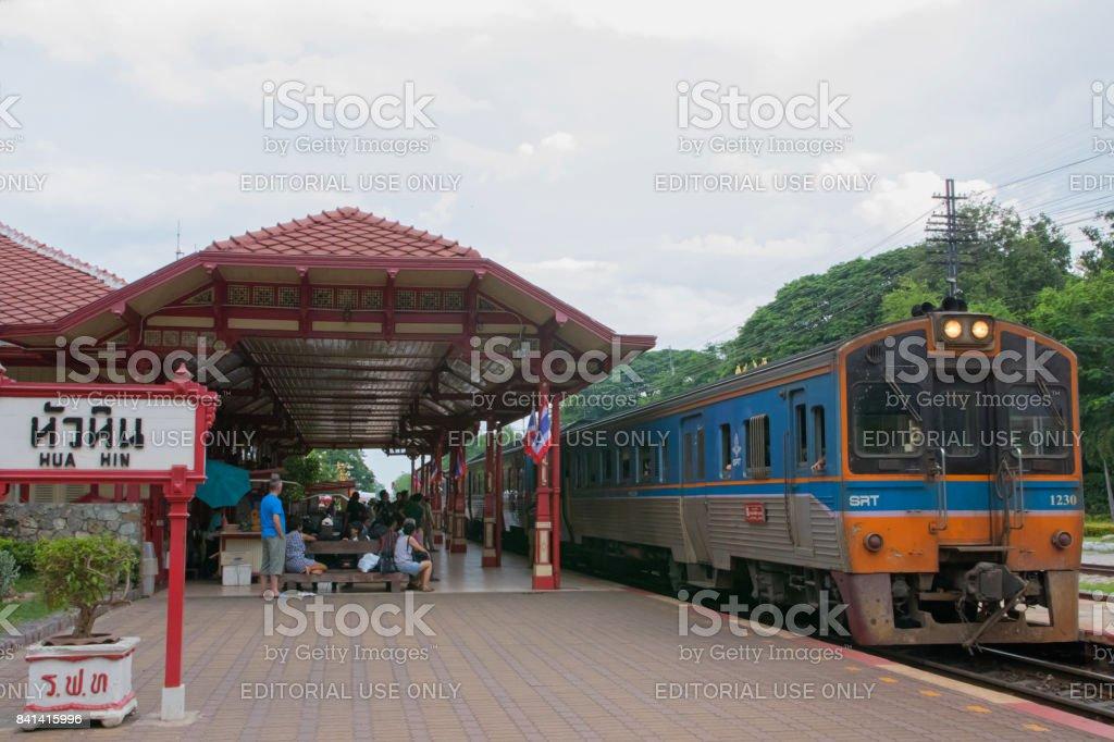 Train leaving in Hua Hin Train Station stock photo