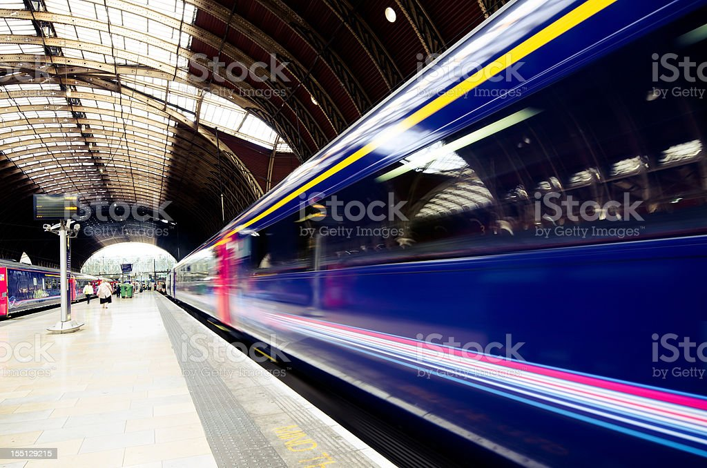 Train leaving Paddington Station in London, England stock photo