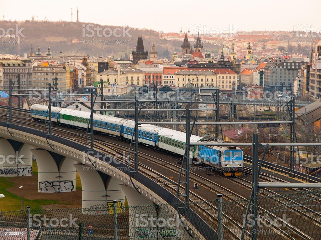Train leaving Prague main railway station stock photo