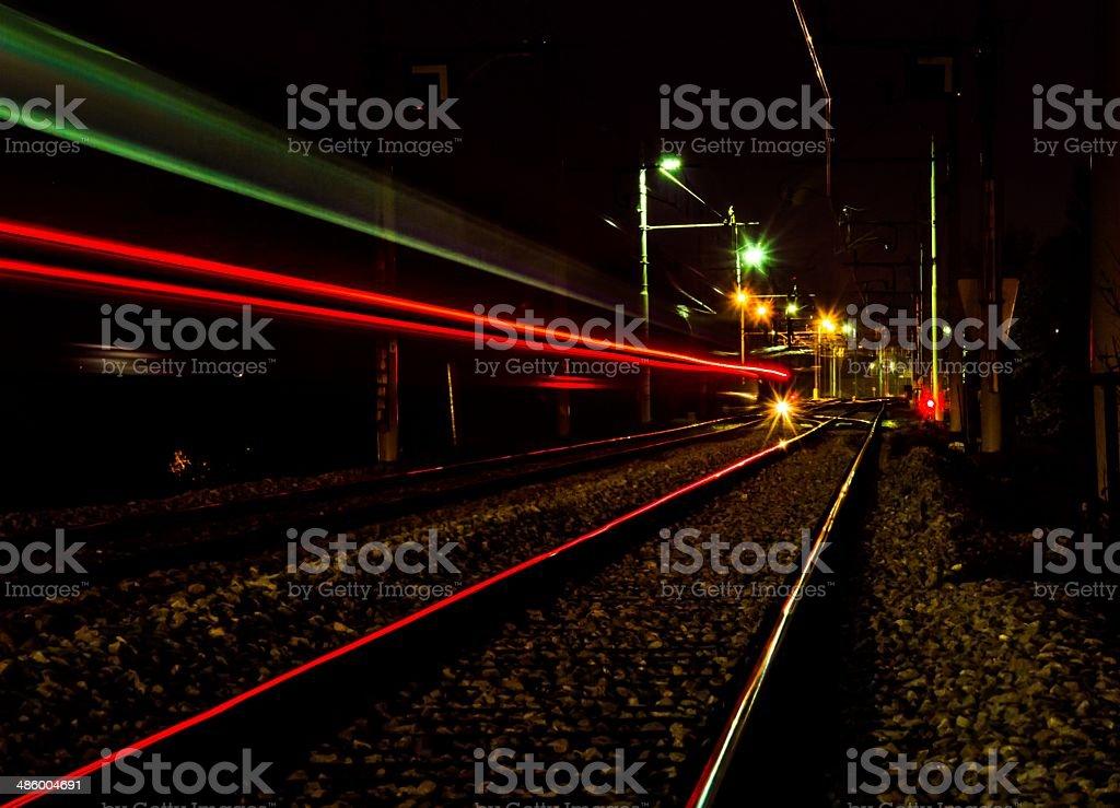 Train lights trail stock photo