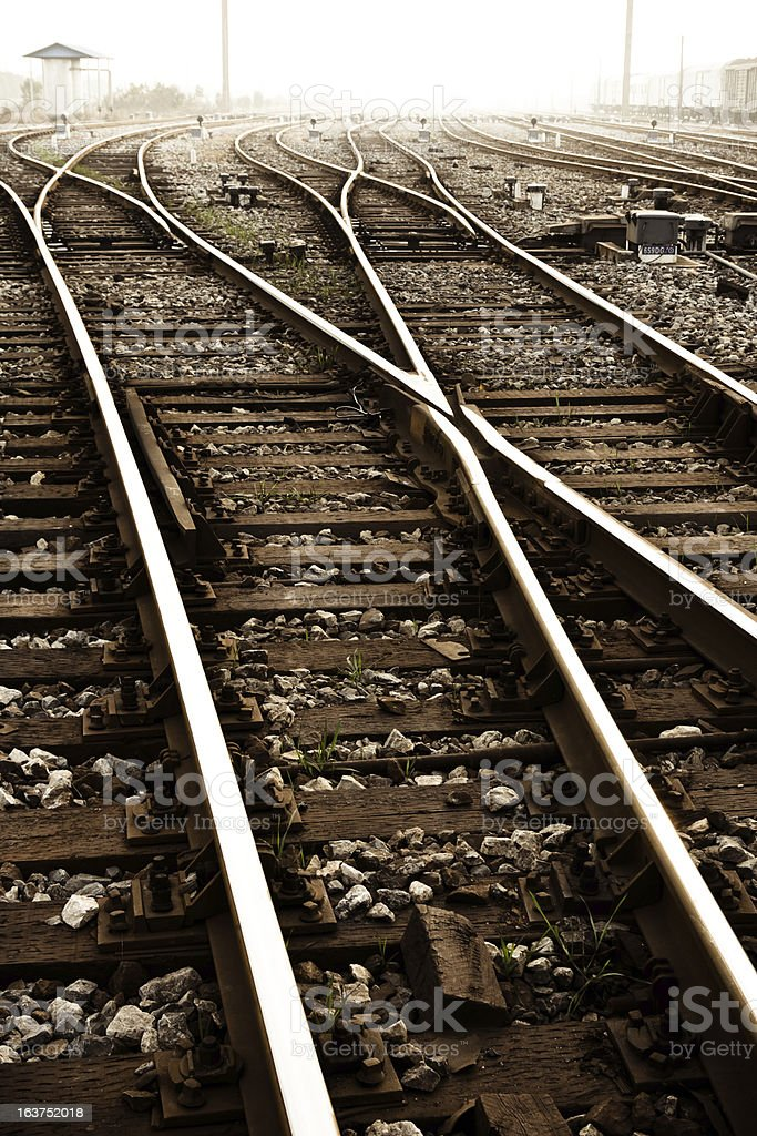 Train line crossing royalty-free stock photo