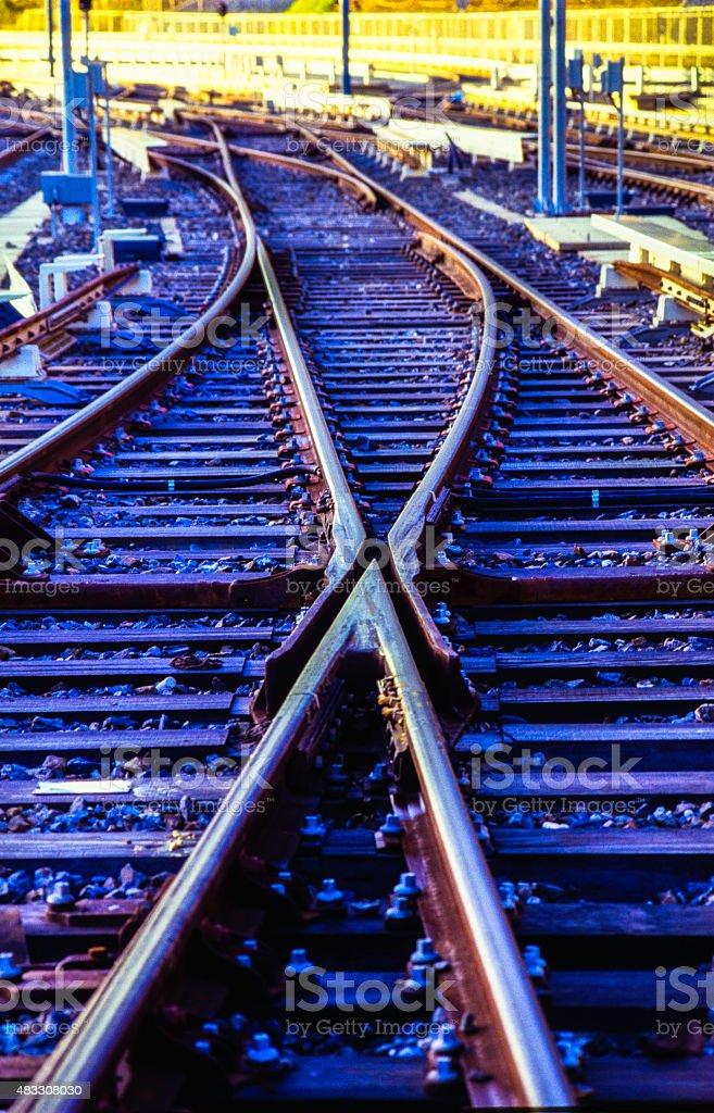Train Line Crossing stock photo