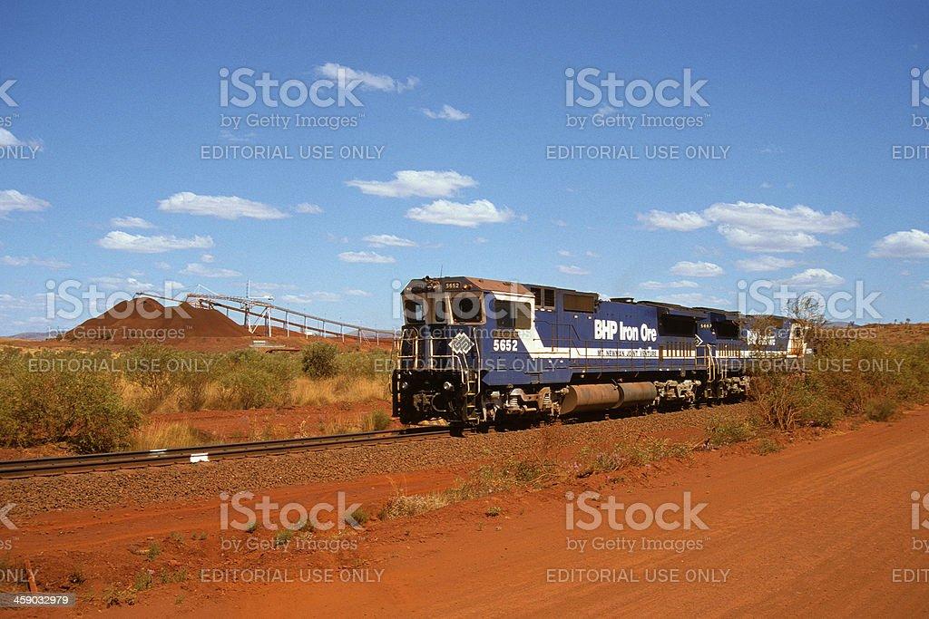 BHP train loading iron ore at Yandi mine stock photo