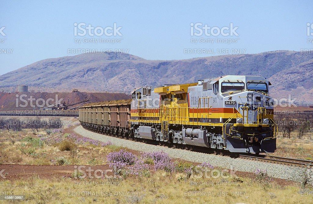 Train loading iron ore, Pilbara, Australia stock photo