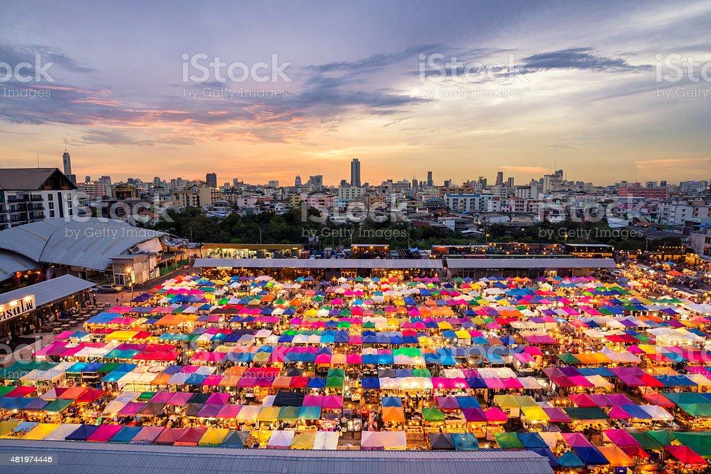 Train market secondhand market stock photo